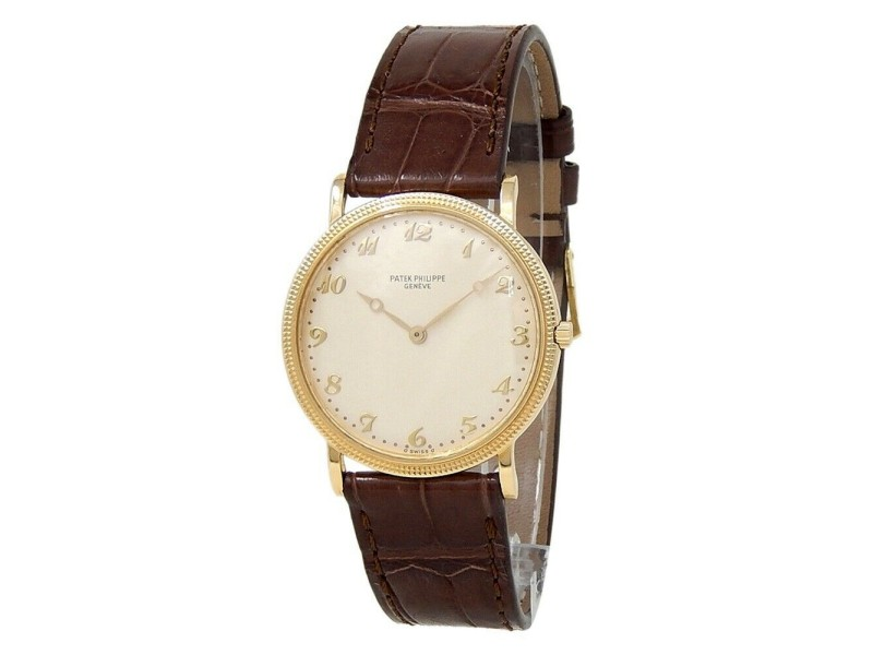 Patek Philippe Calatrava 18k Yellow Gold Leather Champagne Ladies Watch 3520D