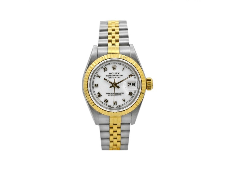 Women's Rolex Datejust 26, Stainless Steel, 18k Yellow Gold, White Dial, 69173