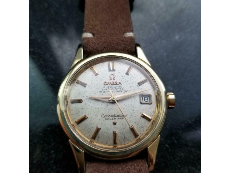 Mens Omega Constellation 34mm Gold-Capped Date Automatic, c.1950s Swiss LV651TAN