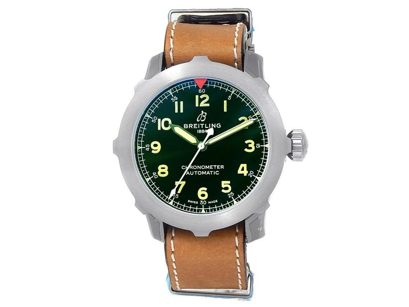 Breitling Aviator Super 8 Titanium Leather Automatic Green Men's Watch EB2040