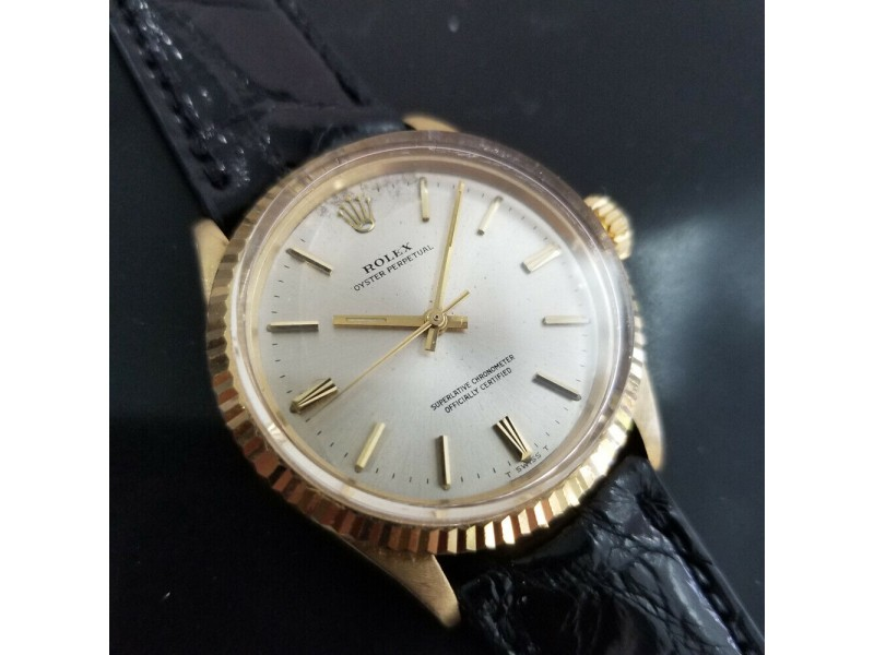 Mens Rolex Oyster Perpetual 1005 34mm 14k Gold Automatic, c.1970s Swiss MA177BLK