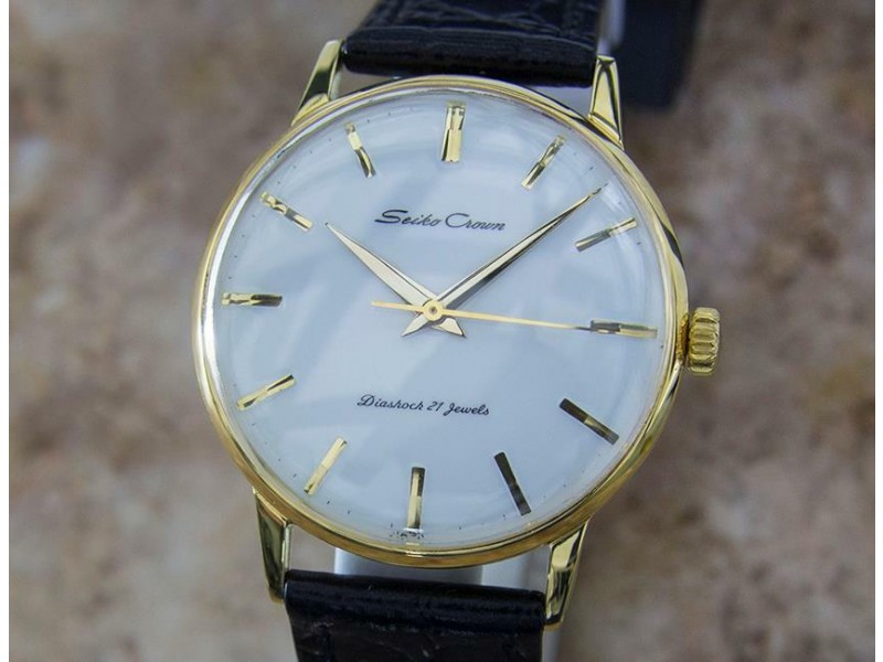 Mens Seiko Crown 37mm Hand-Wind Gold-Plated Dress Watch, c.1960s Vintage Y28