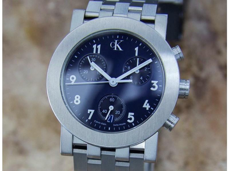 Mens Calvin Klein CK 33mm Quartz Chronograph w/Date, c.2000s Swiss Y84