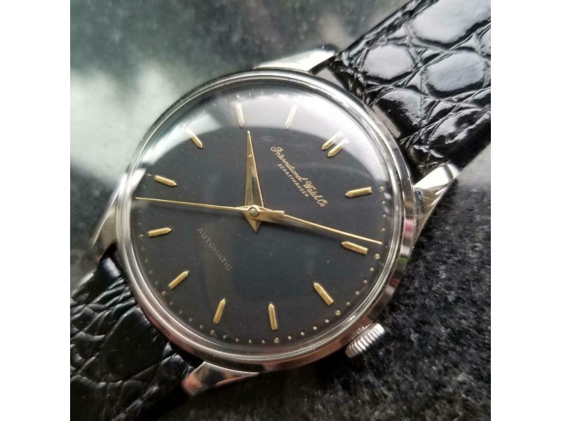 Mens IWC Schaffhausen 35mm Automatic Dress Watch, c.1960s Swiss Vintage R785BLK