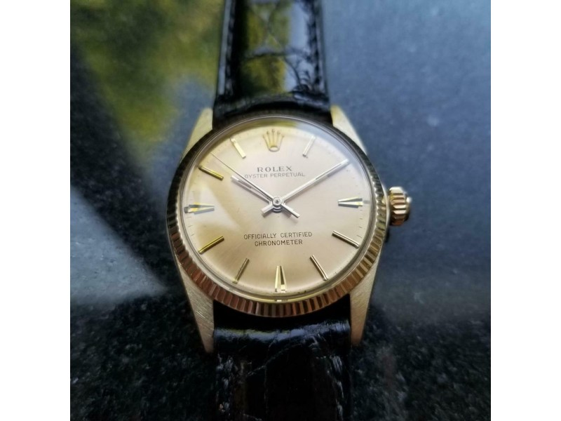 Mens Rolex Oyster Perpetual 6551 30mm 13k Gold Automatic, c.1960s Swss MS137