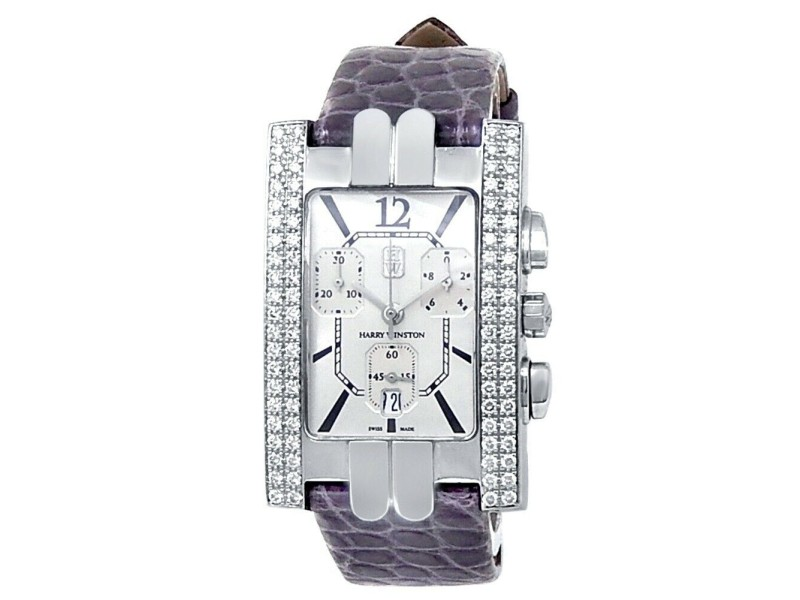 Harry Winston Avenue A 18k White Gold Auto Diamonds Silver Ladies Watch 310UCQW