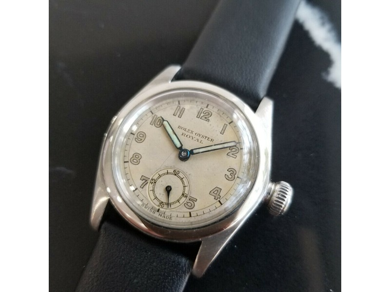 Midsize Rolex Oyster Royal Ref.2280 30mm Hand-Wind Dress Watch, c.1940s MA195BLK