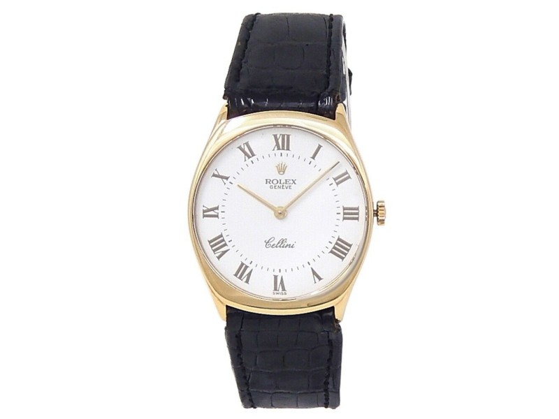 Rolex Cellini 18k Yellow Gold Black Leather Manual White Men's Watch