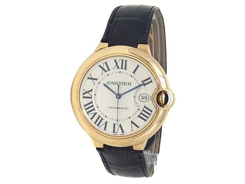 Cartier Ballon Bleu 18k Yellow Gold Leather Automatic Silver Mens Watch W6900551