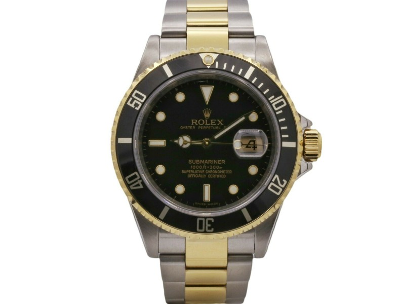 Mens' Rolex Submariner Date 40mm, 18k Yellow Gold, and Steel, Black Dial, 16613