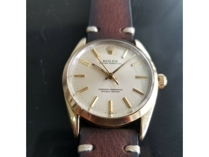 Mens Rolex Oyster perpetual 1024 34mm Gold-Capped Automatic, c.1980s RA145BRN