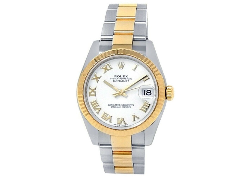 Rolex Datejust 18k Yellow Gold Steel Oyster Automatic White Midsize Watch 178273