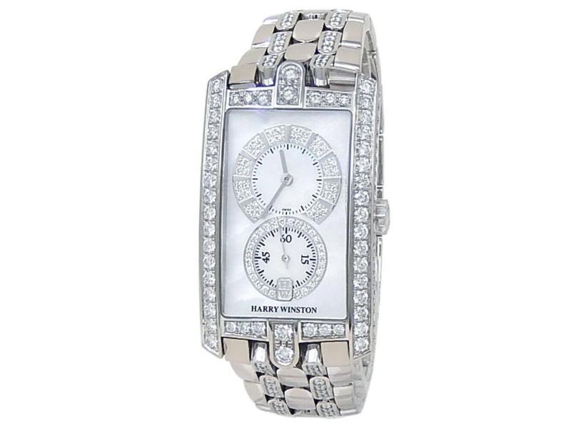 Harry Winston Avenue C 18k White Gold Diamonds Mother of Pearl Watch 330/UMJW