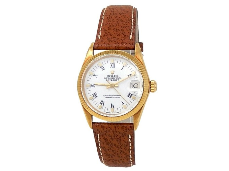 Rolex Datejust 18k Yellow Gold Brown Leather Automatic White Midsize Watch 6627