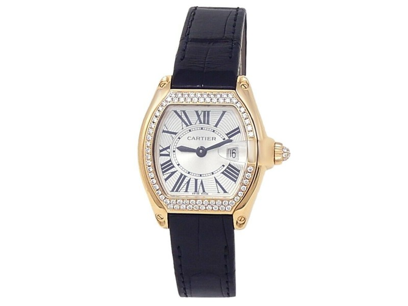 Cartier Roadster 18k Yellow Gold Quartz Diamonds Silver Midsize Watch WE500160