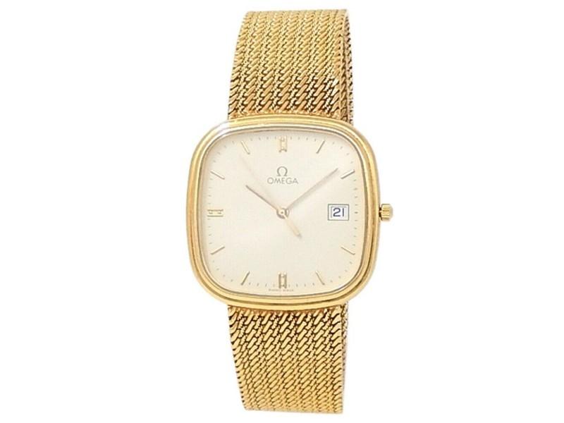 Omega Vintage 18k Yellow Gold Mesh Quartz White Men's Watch