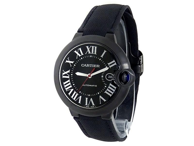 Cartier Ballon Bleu Black Stainless Steel ADLC Leather Black Mens Watch WSBB0015