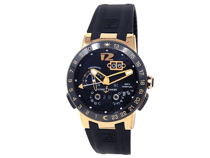 Ulysse Nardin El Toro GMT 18k Rose Gold Black Rubber Auto Black Watch 326-03-3
