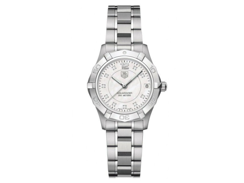 NEW TAG HEUER AQUARACER WAF1312.BA0817 DIAMOND ACCENTED PEARL MIDSIZE LADY WATCH