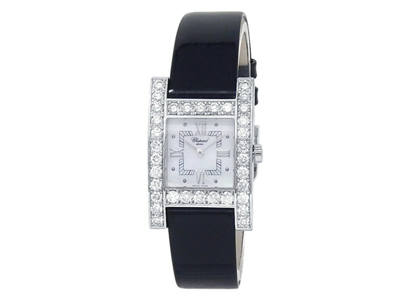 Chopard H Diamond 18k White Gold Leather Quartz Mother of Pearl Watch