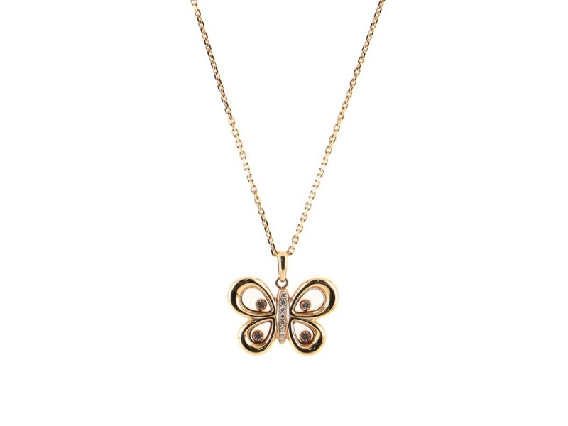 Chopard Happy Butterflies Pendant Necklace 18K Pink Gold with Diamonds
