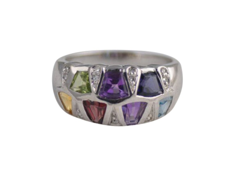 14K White Gold, Diamond & Multi Gemstone Ring