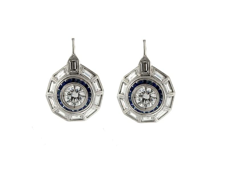 Platinum Vintage Style Diamond Earrings