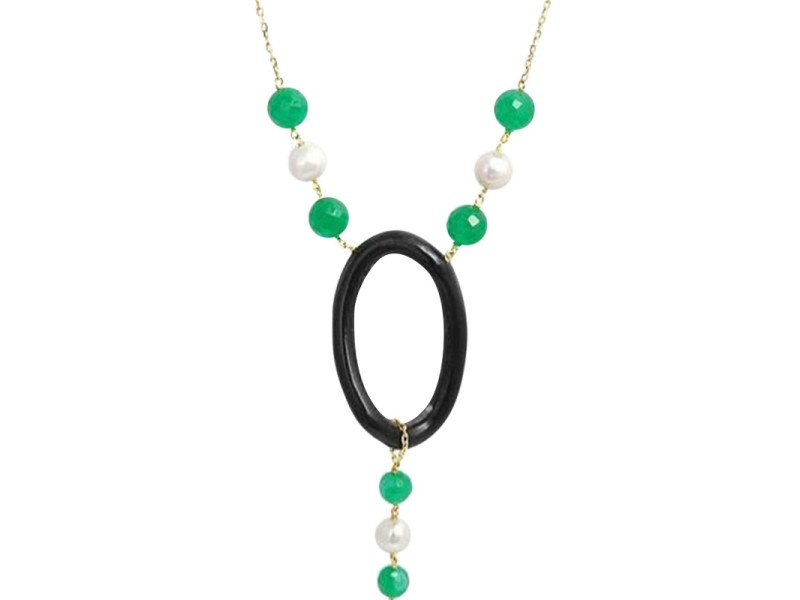 Leaderline 18K Yellow Gold Pearl Green Jade & Ebony Wood Necklace
