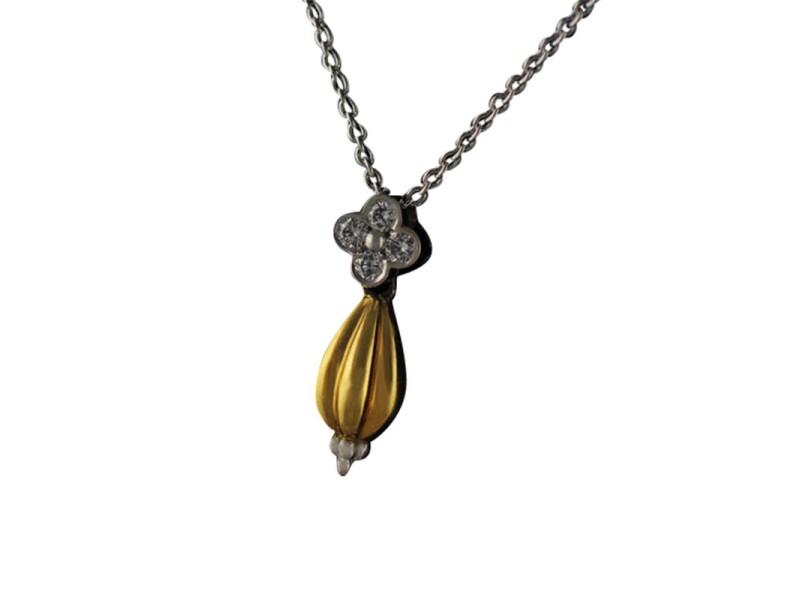 Charles Krypell 18K White & Yellow Gold Diamond Pendant Necklace