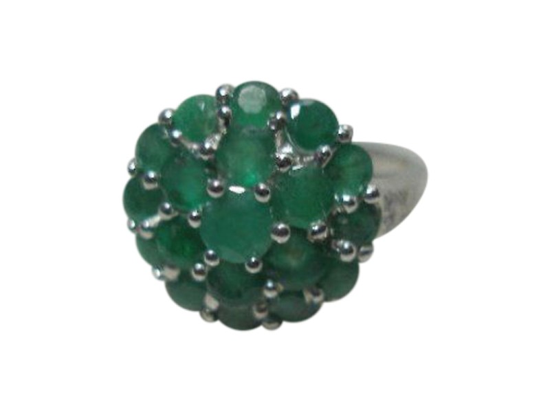 14K White Gold Emerald & Diamond Accents Cocktail Ring
