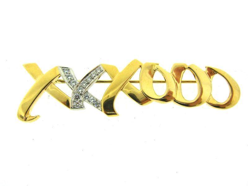 Tiffany & Co. T&Co. Original 18K Yellow Gold Diamond Xoxo Brooch