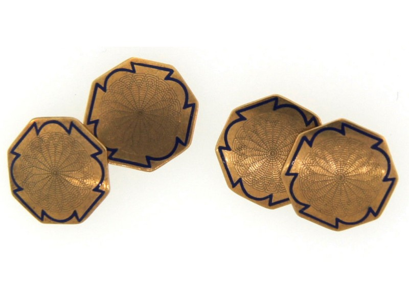 10K Yellow Gold and Blue Enamel Cufflinks