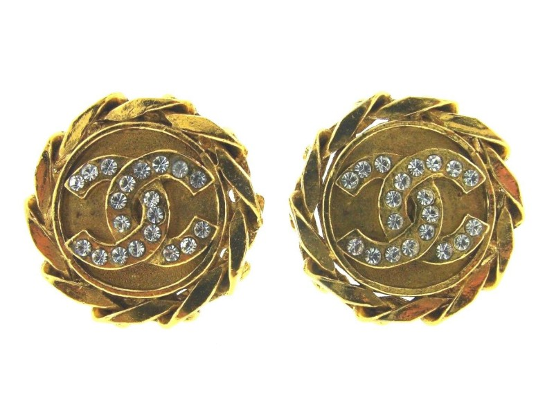 Chanel Gold Plated & Swarovski Crystal Logo Clip On Earrings