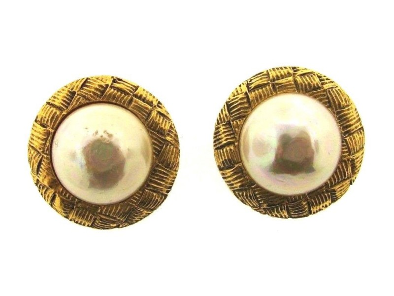 Chanel Gold Plated & Costume Simulated Glass Pearl Clip On Earrings