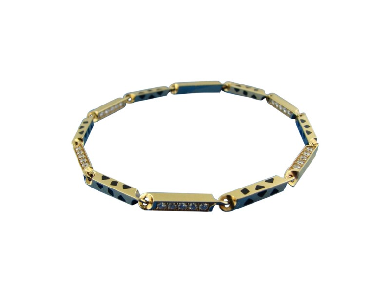 Cartier 18K 750 Yellow Gold Enamel Diamond Link Chain Bracelet
