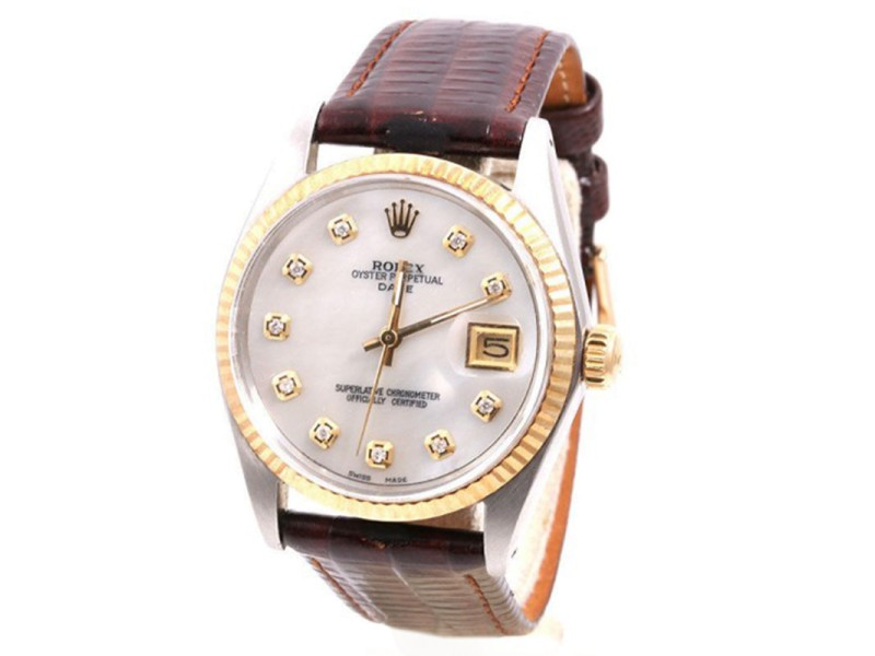 Rolex Date 18K Yellow Gold & Stainless Steel Mother Of Pearl Diamond Dial 34mm Unisex Watch