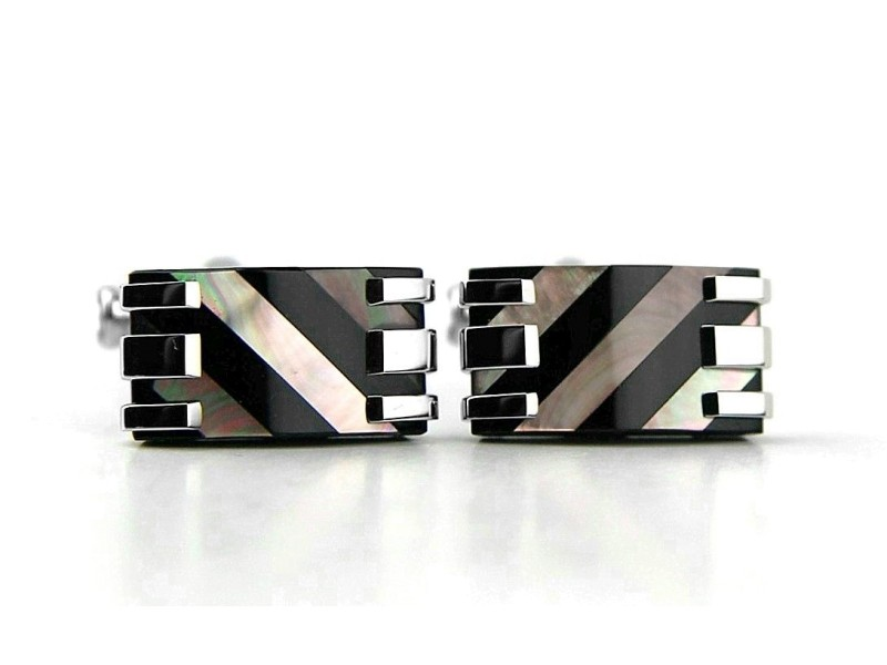 MONTBLANC RECTANGULAR CUFFLINKS STAINLESS STEEL MOTHER OF PEARL NEW 109501 BOX