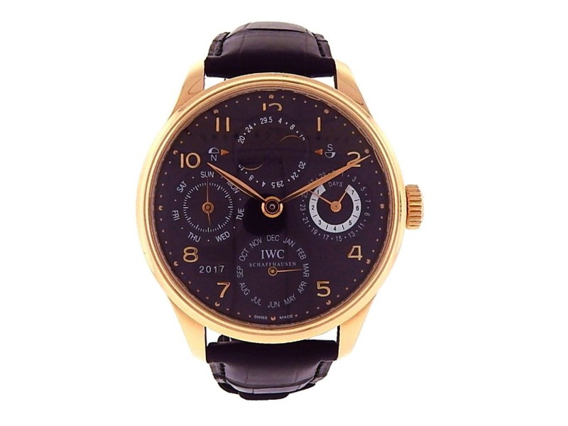 IWC Portuguese Perpetual Calendar 18K Rose Gold Automatic 44mm Mens Dress Watch