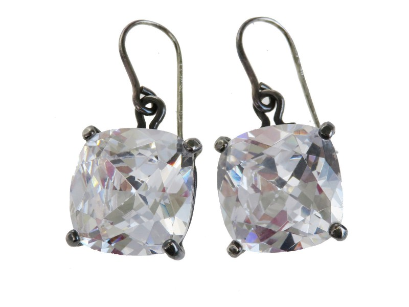 Bottega Veneta Silver Tone Hardware with Cubic Zirconia Pierce Earrings