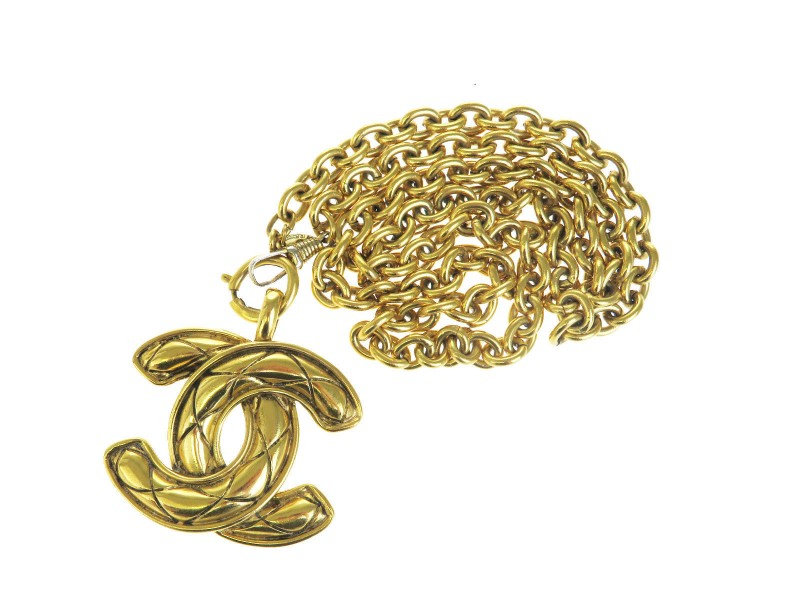 Chanel Gold Tone Hardware CC Logo Pendant Long Chain Necklace