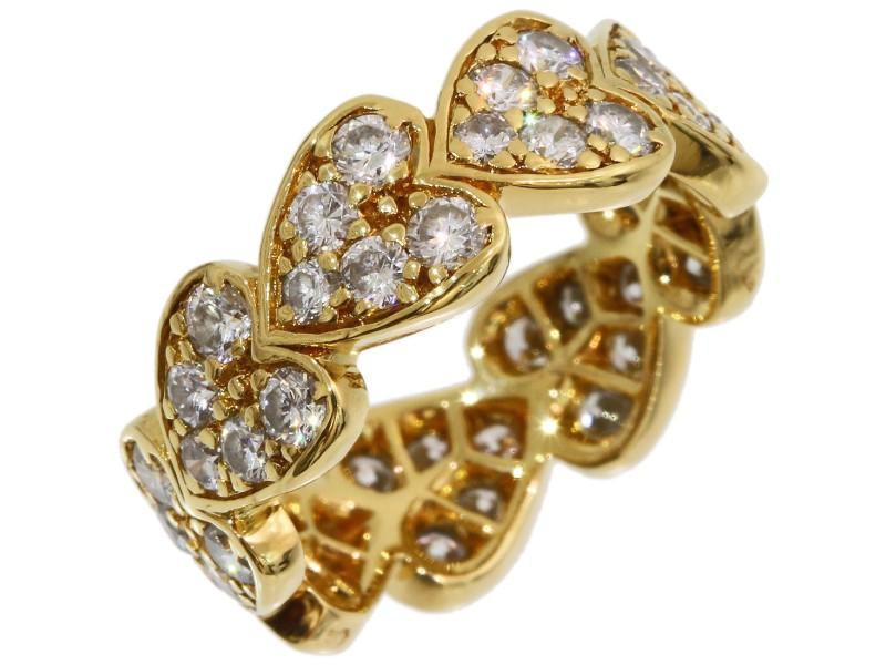 Cartier 18K Yellow Gold Diamond Heart Ring Size 3.75