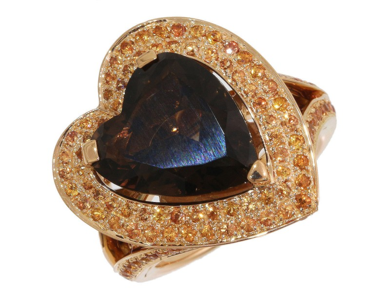 Mauboussin 18K Rose Gold Smoky Quartz Ring Size 6.25