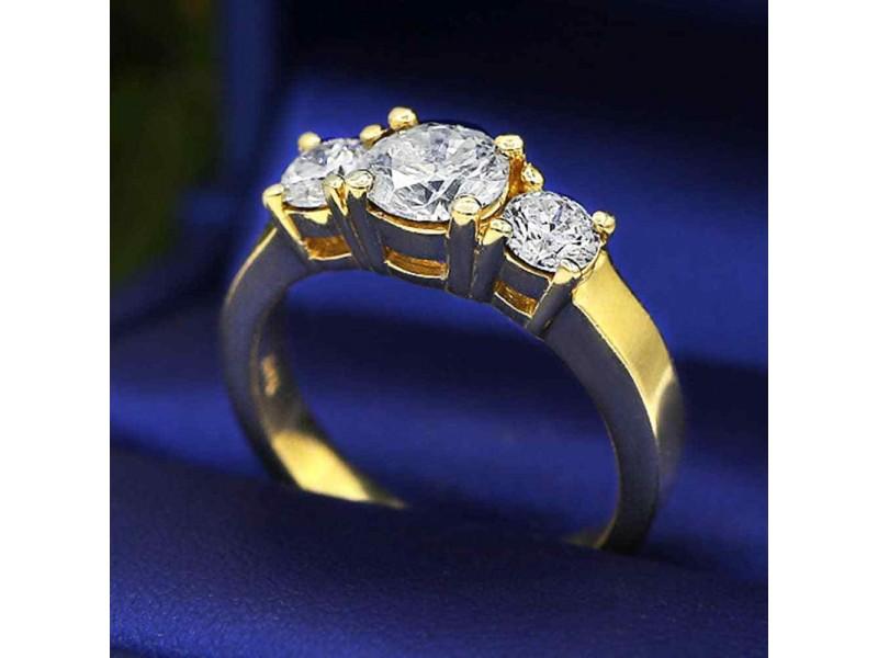 14k Yellow Gold Three-Stone Diamond Engagement Ring Size 7