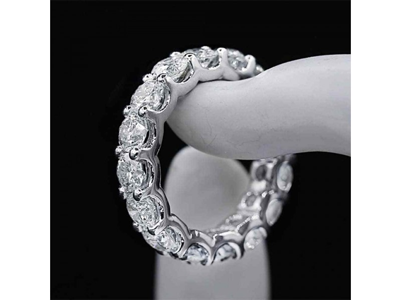 14k White Gold Diamond Eternity Band Size 6.5