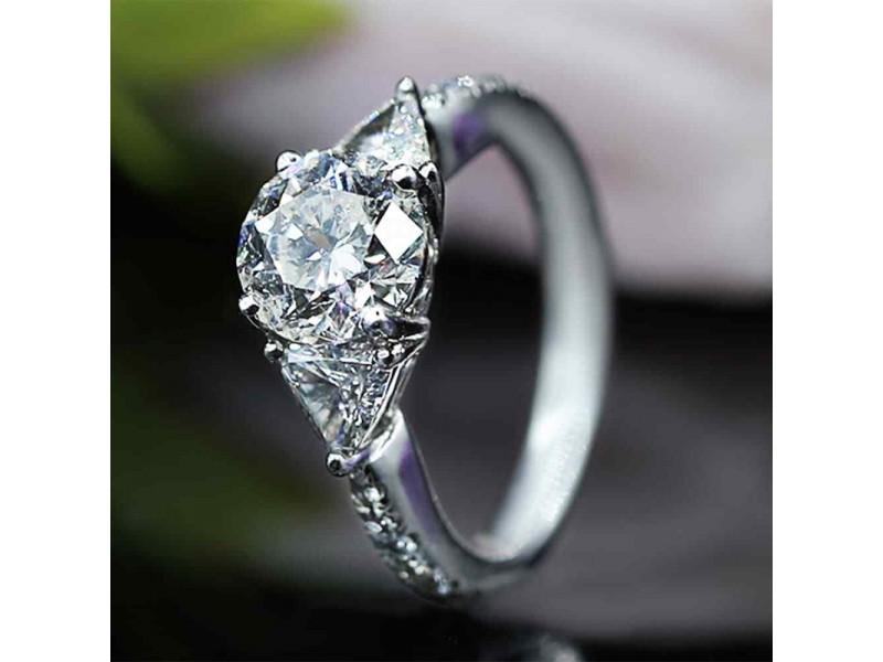 Platinum Three-Stone Diamond Engagement Ring Size 7