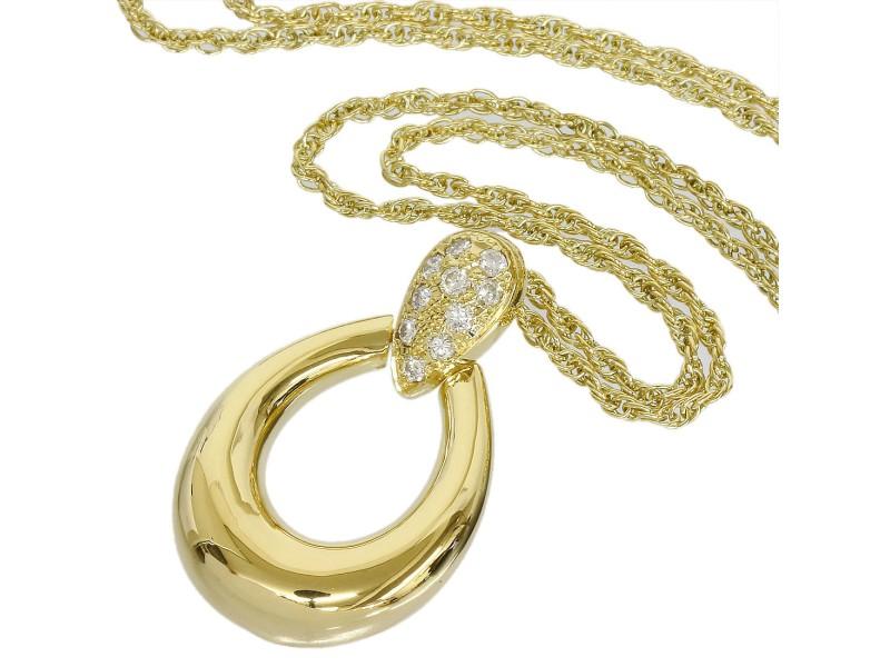 Mikimoto 18K Yellow Gold Diamond Pendant