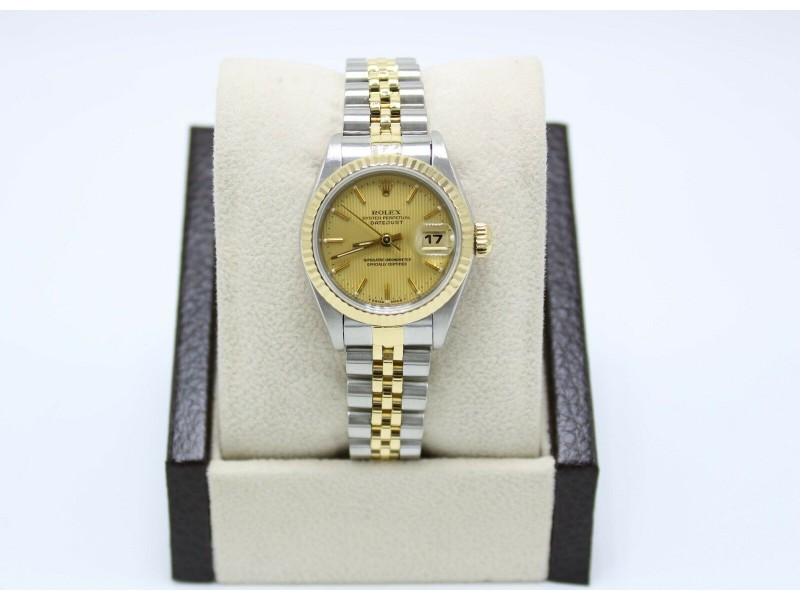 Rolex Ladies Datejust 69173 Champagne Tapestry Dial 18K Yellow Gold & Stainless