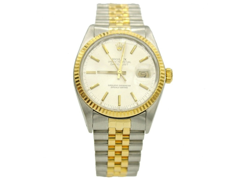 Rolex Datejust Two Tone S Steel & 18k Yellow Gold w/ White Dial 16013
