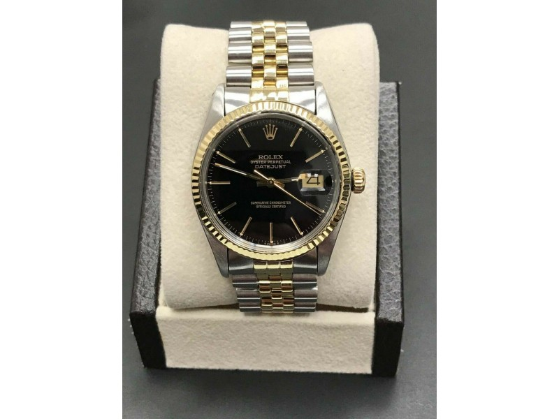 Rolex Datejust 16013 Black Dial 14K Yellow Gold & Stainless Steel