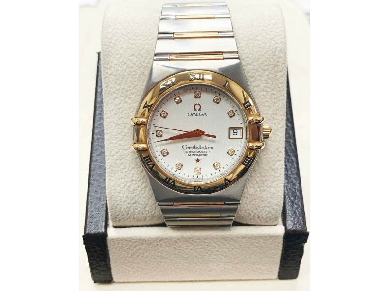 Omega Constellation 1304.35.00 Diamond 18K Rose Gold & Steel 35MM Box & Papers